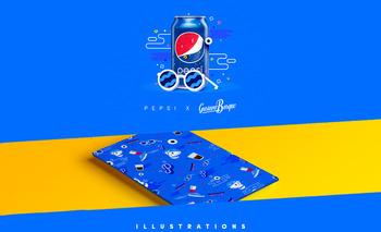 百事可乐活在当下插画设计图片